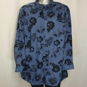 Roaman's NWOT Blue & Black Floral Button Shirt 28W